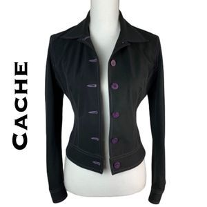 Cache Jacket Black with Purple Stitching Size 2